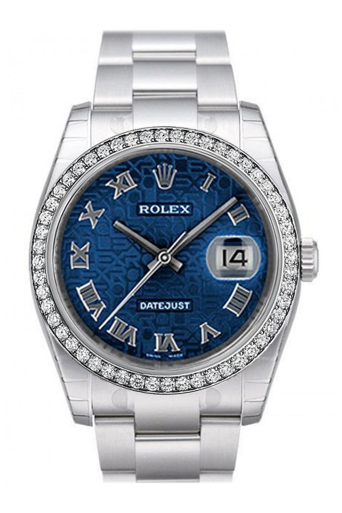 Custom Diamond Bezel Rolex Datejust 36 Blue Jubilee Dial Stainless Steel Jubilee Men's Watch 116200
