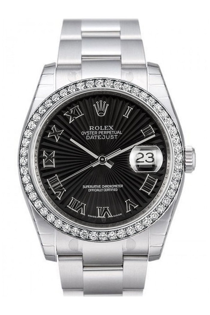 Custom Diamond Bezel Rolex Datejust 36 Black Sunbeam Dial Stainless Steel Oyster Watch 116200