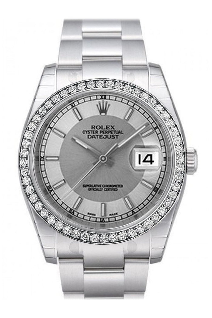 Custom Diamond Bezel Rolex Datejust 36 Silver Concentric Dial Stainless Steel Oyster Men's Watch 116200