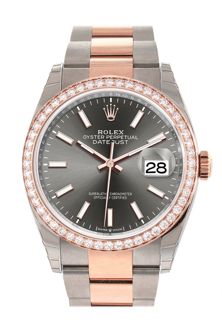 Custom Diamond Bezel Rolex Datejust 36 Dark Rhodium Dial Rose Gold Two Tone Watch 126201