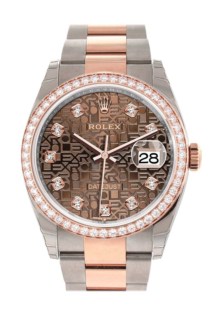 Custom Diamond Bezel Rolex Datejust 36 Chocolate Jubilee Design Set With Diamonds Dial Rose Gold Two