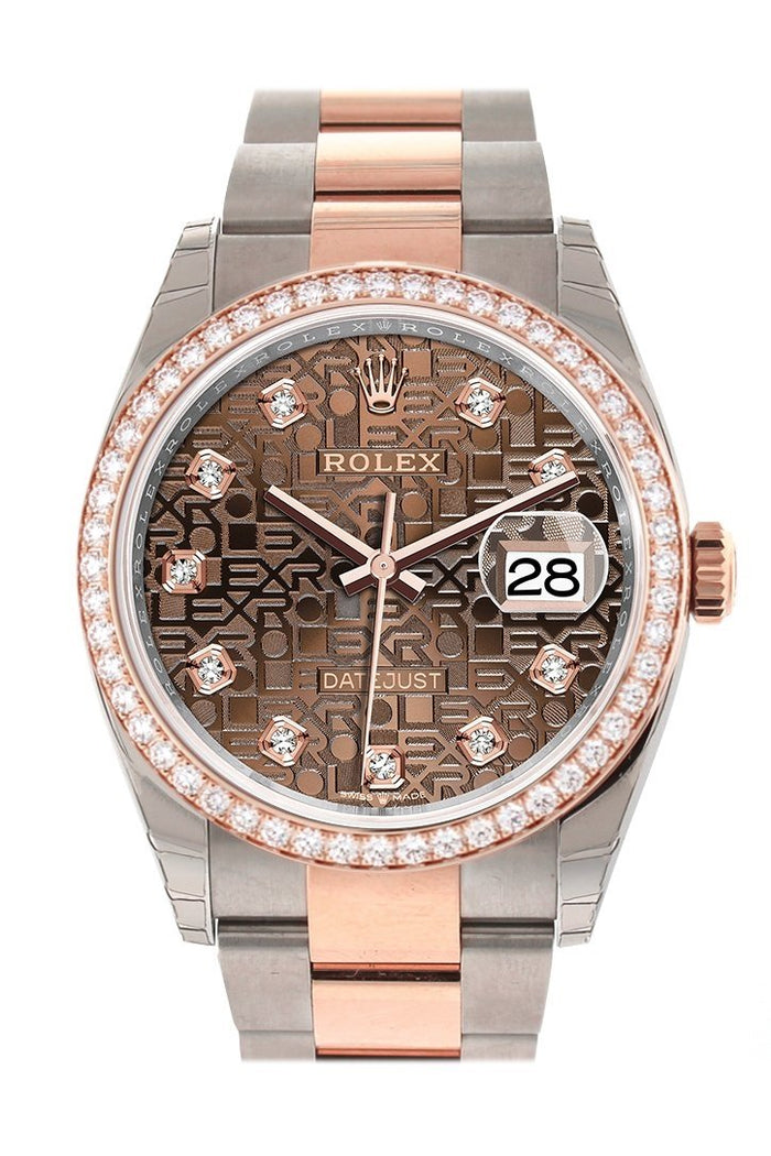Custom Diamond Bezel Rolex Datejust 36 Chocolate Jubilee Design Set with Diamonds Dial Rose Gold Two Tone Watch 126201