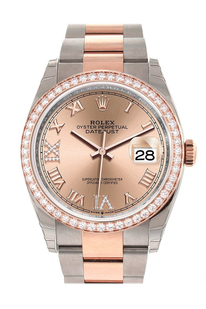 Custom Diamond Bezel Rolex Datejust 36 Rose Set with Diamonds Dial Rose Gold Two Tone Watch 126201