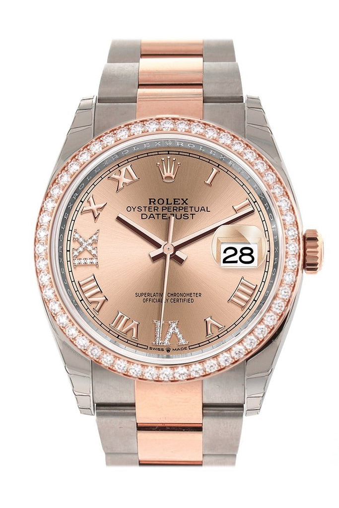 Custom Diamond Bezel Rolex Datejust 36 Rose Set With Diamonds Dial Gold Two Tone Watch 126201 /