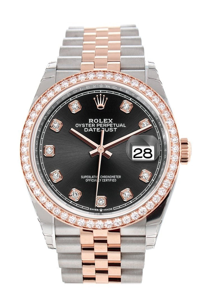 Custom Diamond Bezel Rolex Datejust 36 Black Set with Diamonds Dial Rose Gold Two Tone Jubilee Watch 126201
