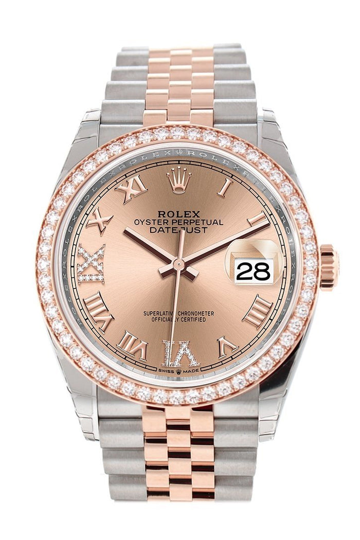 Custom Diamond Bezel Rolex Datejust 36 Rose Set with Diamonds Dial Rose Gold Two Tone Jubilee Watch 126201