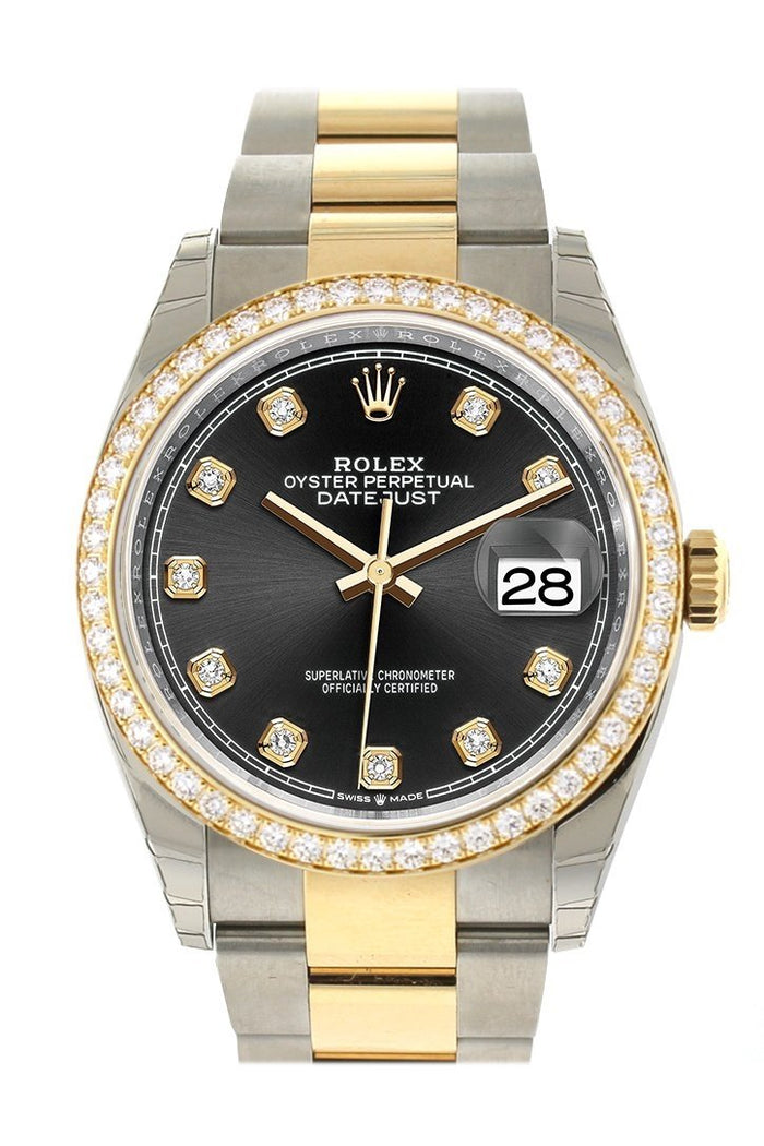 Custom Diamond Bezel Rolex Datejust 36 Black Set with Diamonds Dial Oyster Yellow Gold Two Tone Watch 126203