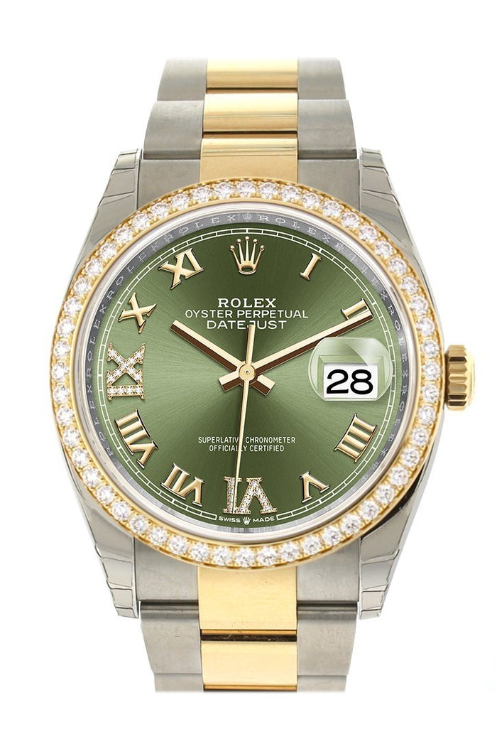 Custom Diamond Bezel Rolex Datejust 36 Olive Green Set with Diamonds Dial Oyster Yellow Gold Two Tone Watch 126203