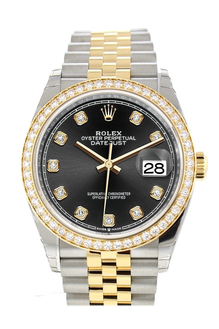 Custom Diamond Bezel Rolex Datejust 36 Black Set with Diamonds Dial Jubilee Yellow Gold Two Tone Watch 126203