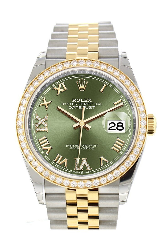 Custom Diamond Bezel Rolex Datejust 36 Olive Green Set with Diamonds Dial Jubilee Yellow Gold Two Tone Watch 126203