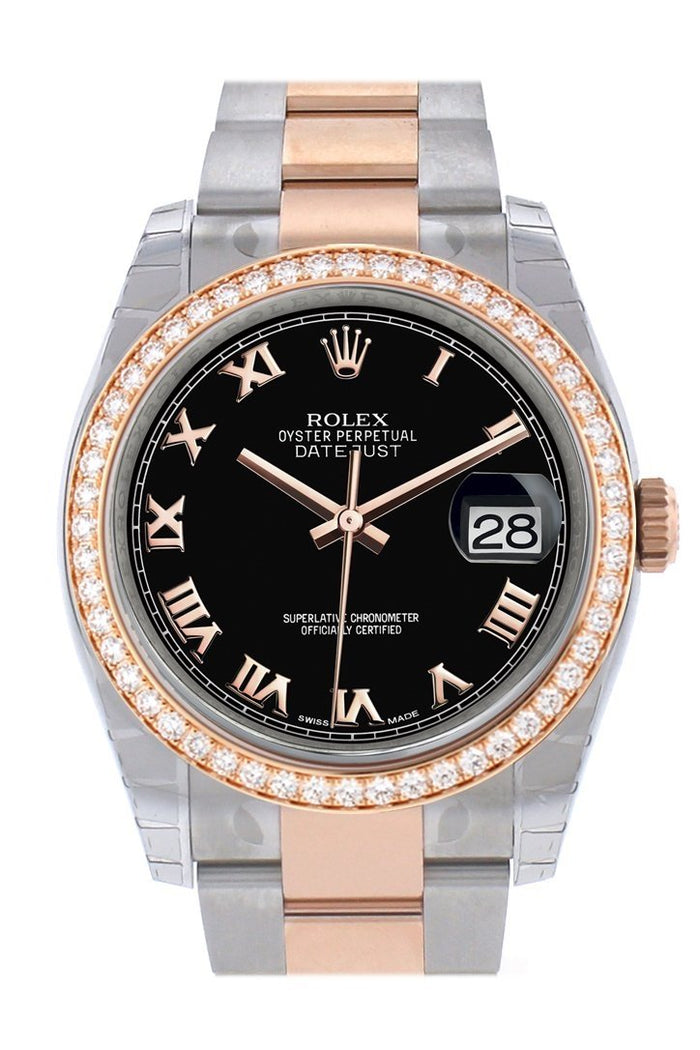 Custom Diamond Bezel Rolex Datejust 36 Black Roman Dial Rose Gold Two Tone Watch 116201 116231