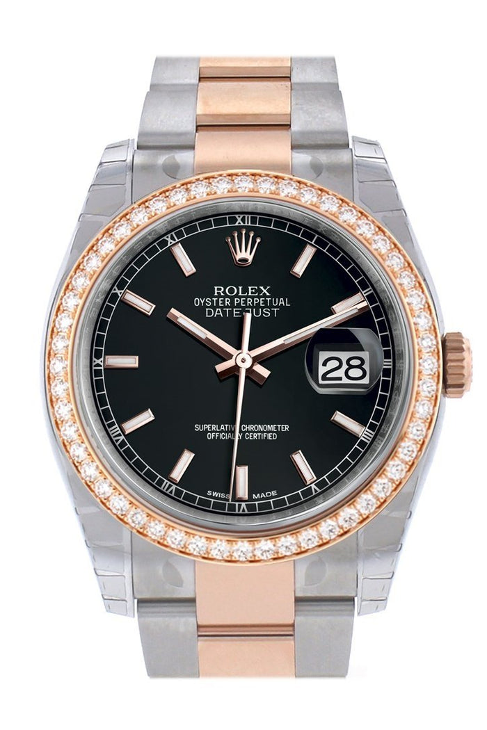Custom Diamond Bezel Rolex Datejust 36 Black Dial Oyster Rose Gold Two Tone Watch 116201 116231