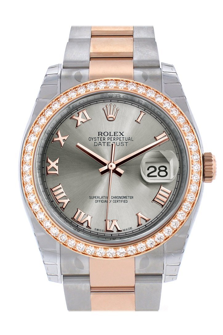 Custom Diamond Bezel Rolex Datejust 36 Steel Roman Dial Rose Gold Two Tone Watch 116201 116231