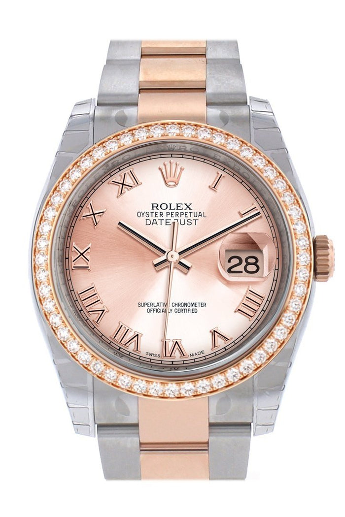 Custom Diamond Bezel Rolex Datejust 36 PInk Roman Dial Oyster Rose Gold Two Tone Watch 116201 116231