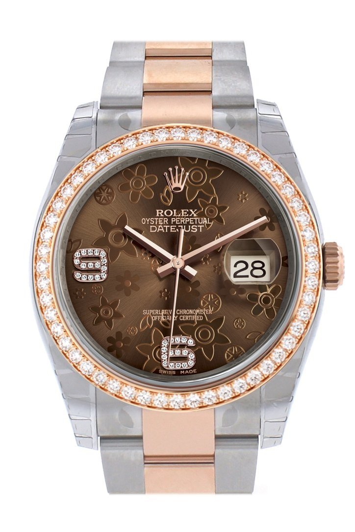 Custom Diamond Bezel Rolex Datejust 36 Chocolate Floral Motif Dial Oyster Rose Gold Two Tone Watch