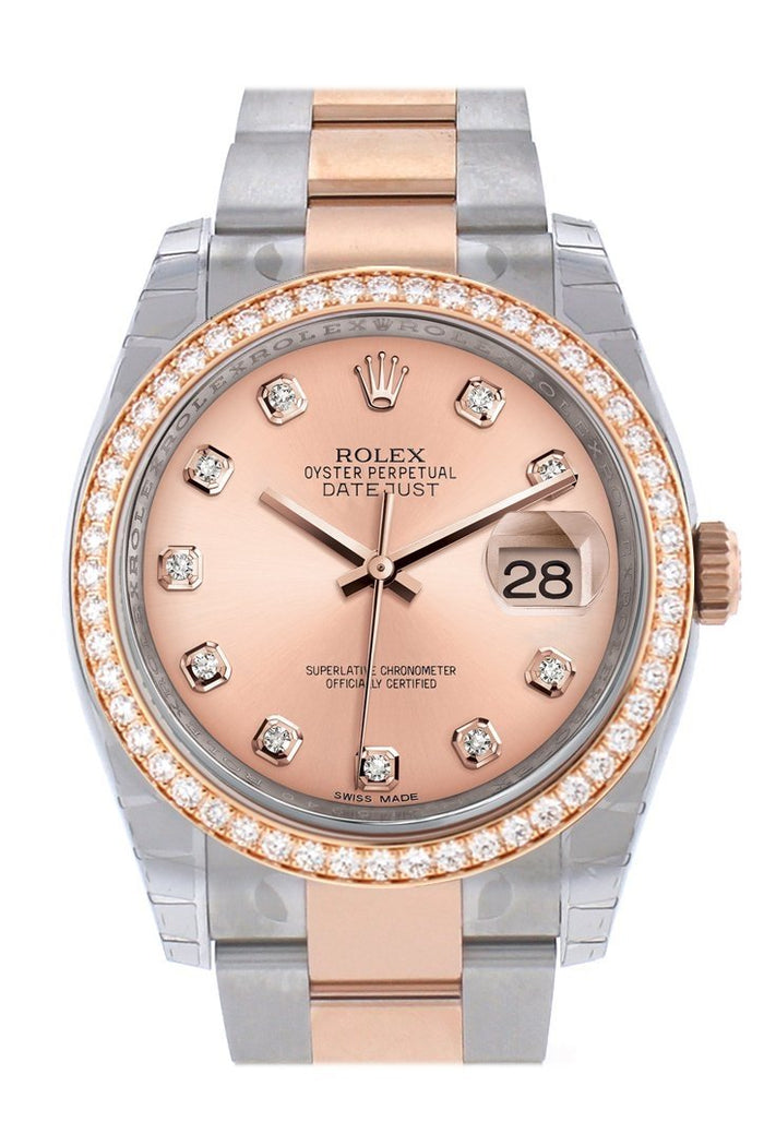 Custom Diamond Bezel Rolex Datejust 36 Pink Dial Oyster Rose Gold Two Tone Watch 116201 116231