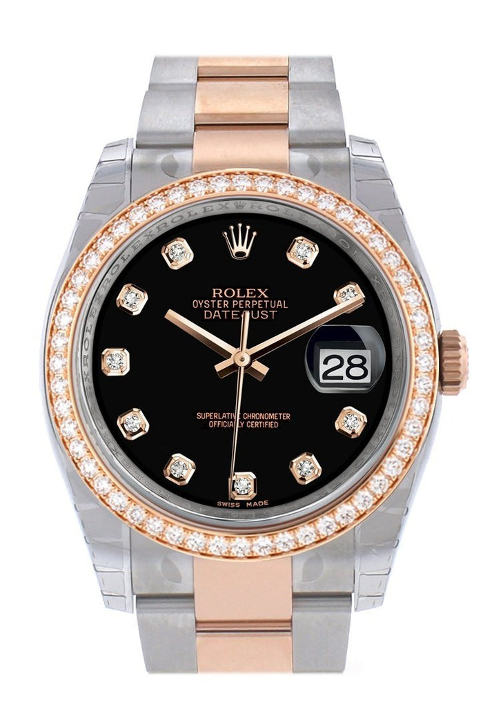 Custom Diamond Bezel Rolex Datejust 36 Black Dial Oyster Rose Gold Two Tone Watch 116201