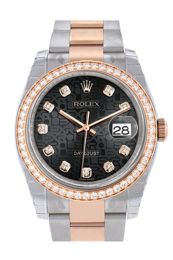 Custom Diamond Bezel Rolex Datejust 36 Black Jubilee design set with diamonds Dial Oyster Rose Gold Two Tone Watch 116201
