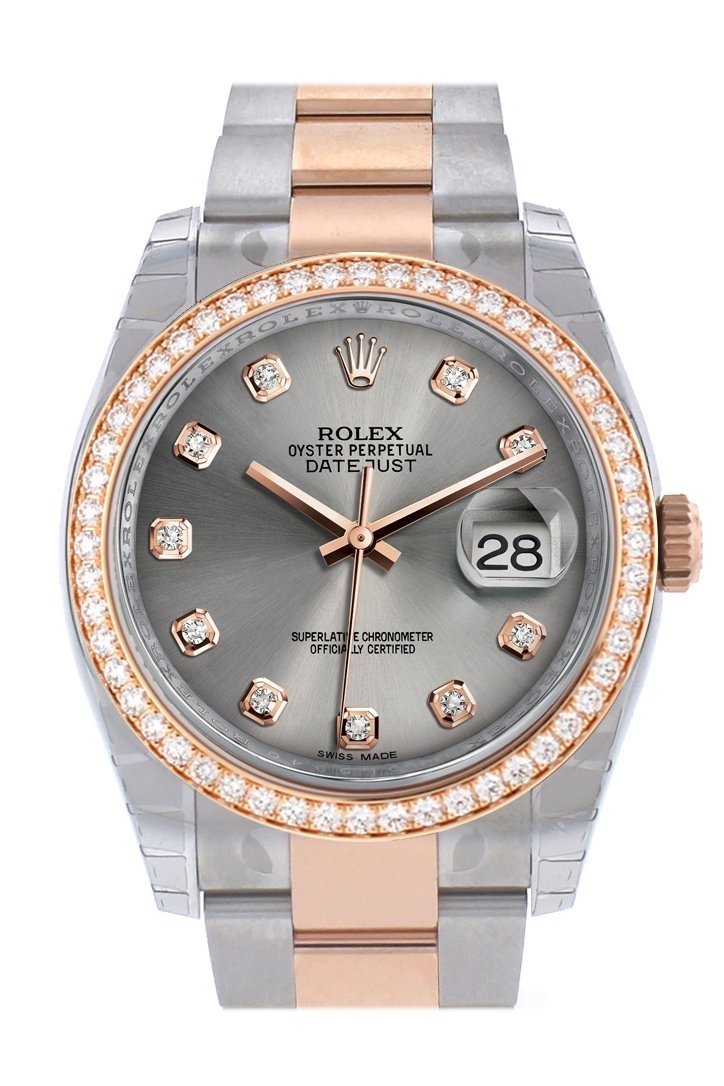 Custom Diamond Bezel Rolex Datejust 36 Steel Dial Rose Gold Two Tone Watch 116201 116231