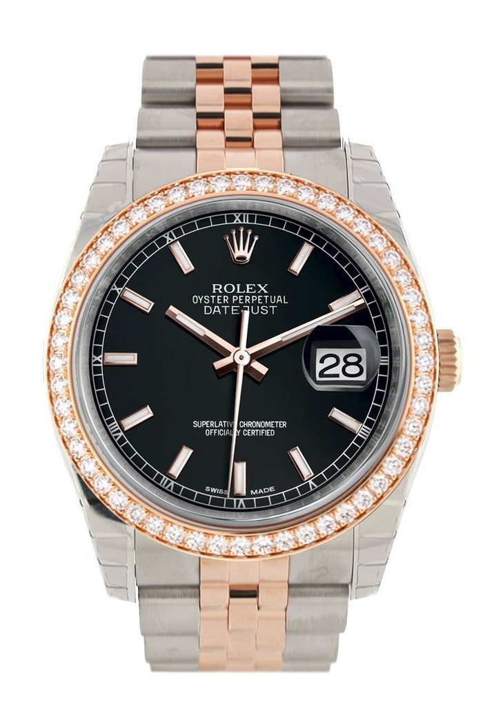 Custom Diamond Bezel Rolex Datejust 36 Black Dial Rose Gold Two Tone Watch 116201 116231