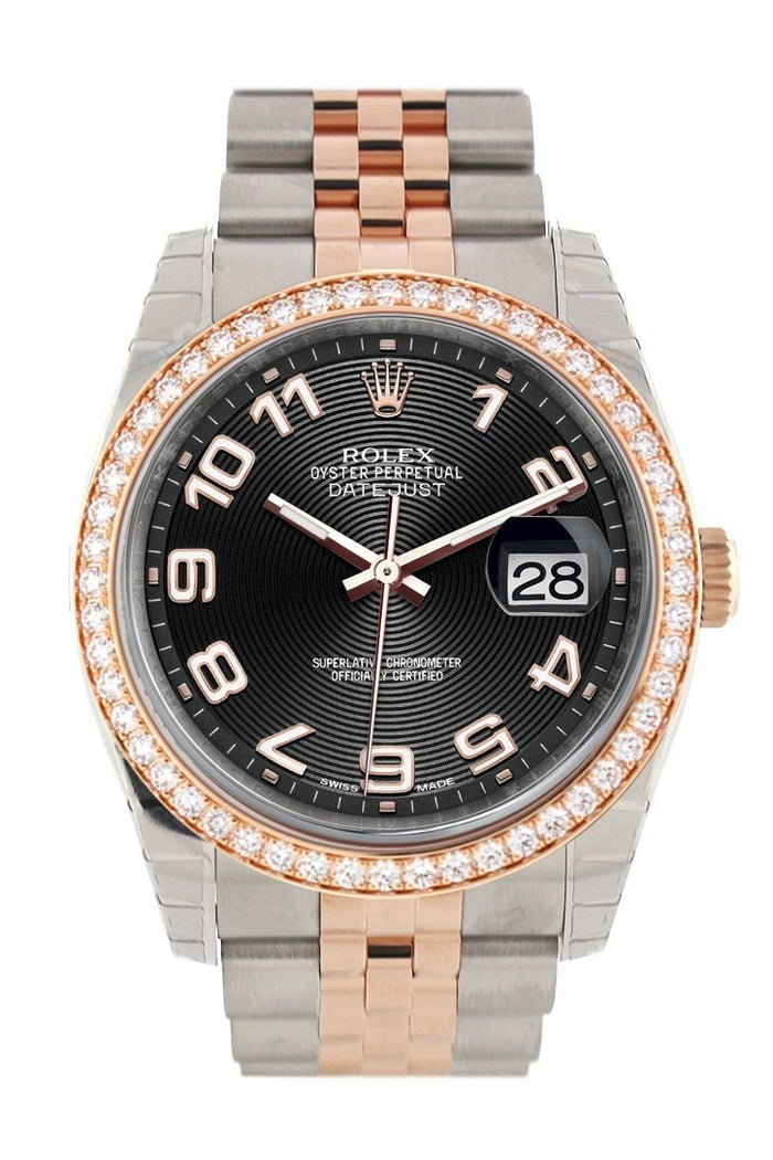 Custom Diamond Bezel Rolex Datejust 36 Black ArabDial Jubilee Rose Gold Two Tone Watch 116201