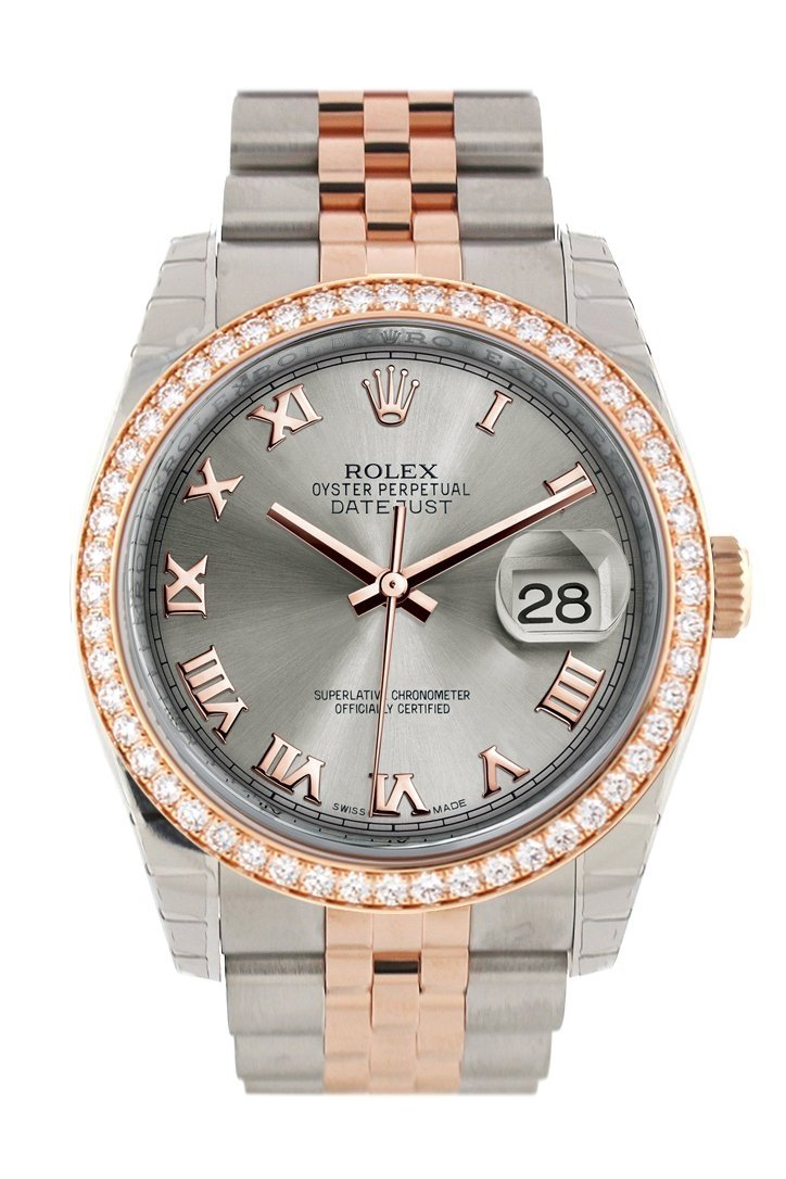 Custom Diamond Bezel Rolex Datejust 36 Steel Roman Dial Jubilee Rose Gold Two Tone Watch 116201