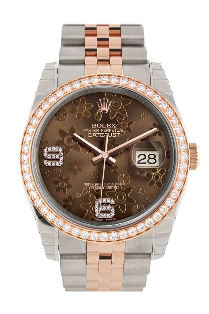 Custom Diamond Bezel Rolex Datejust 36 Chocolate floral motif Dial Jubilee Rose Gold Two Tone Watch 116201 116231