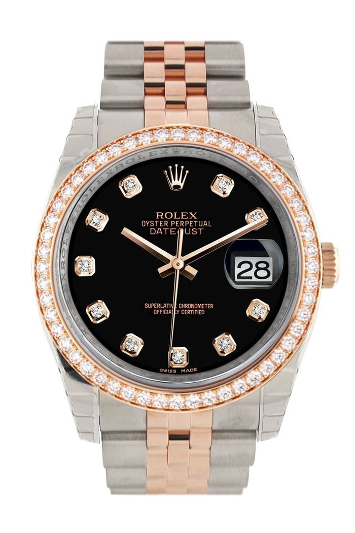 Custom Diamond Bezel Rolex Datejust 36 Black Diamond Dial Jubilee Rose Gold Two Tone Watch 116201 116231
