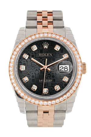 Custom Diamond Bezel Rolex Datejust 36 Black Jubilee Design Set With Diamonds Dial Rose Gold Two