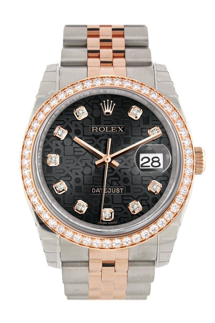 Custom Diamond Bezel Rolex Datejust 36 Black Jubilee Design Set with Diamonds Dial Jubilee Rose Gold Two Tone Watch 116201