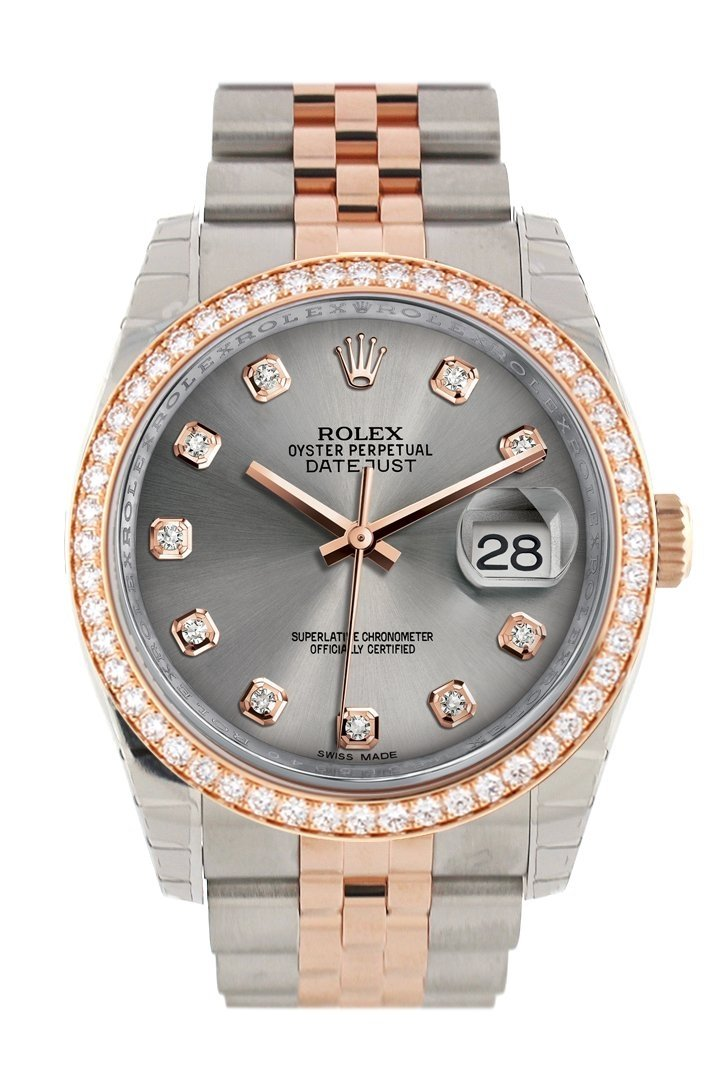 Custom Diamond Bezel Rolex Datejust 36 Steel Jubilee Design Set With Diamonds Dial Rose Gold Two