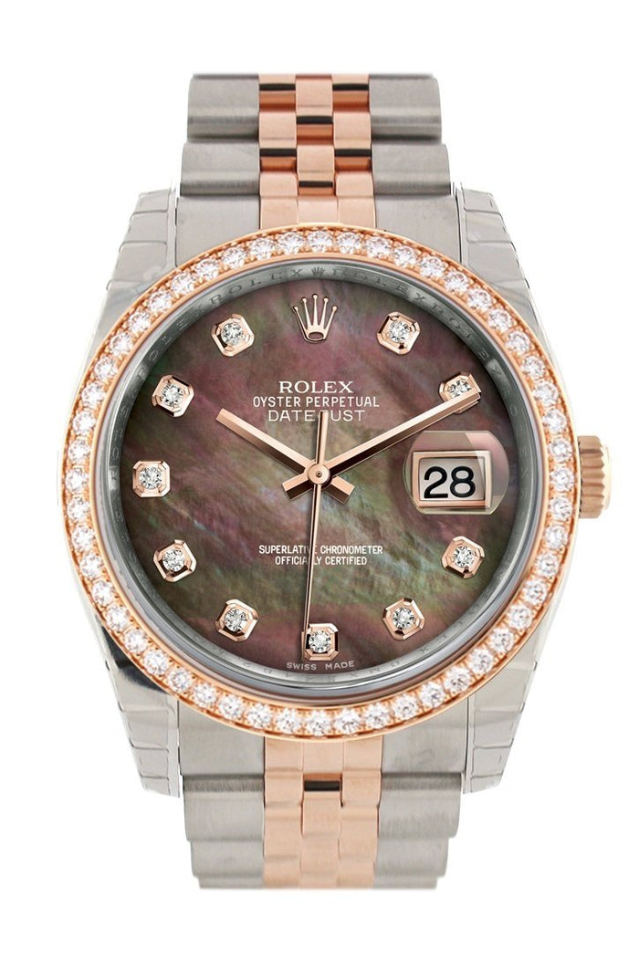 Custom Diamond Bezel Rolex Datejust 36 Black Mother of Pearl Dial Jubilee Rose Gold Two Tone Watch 116201 116231