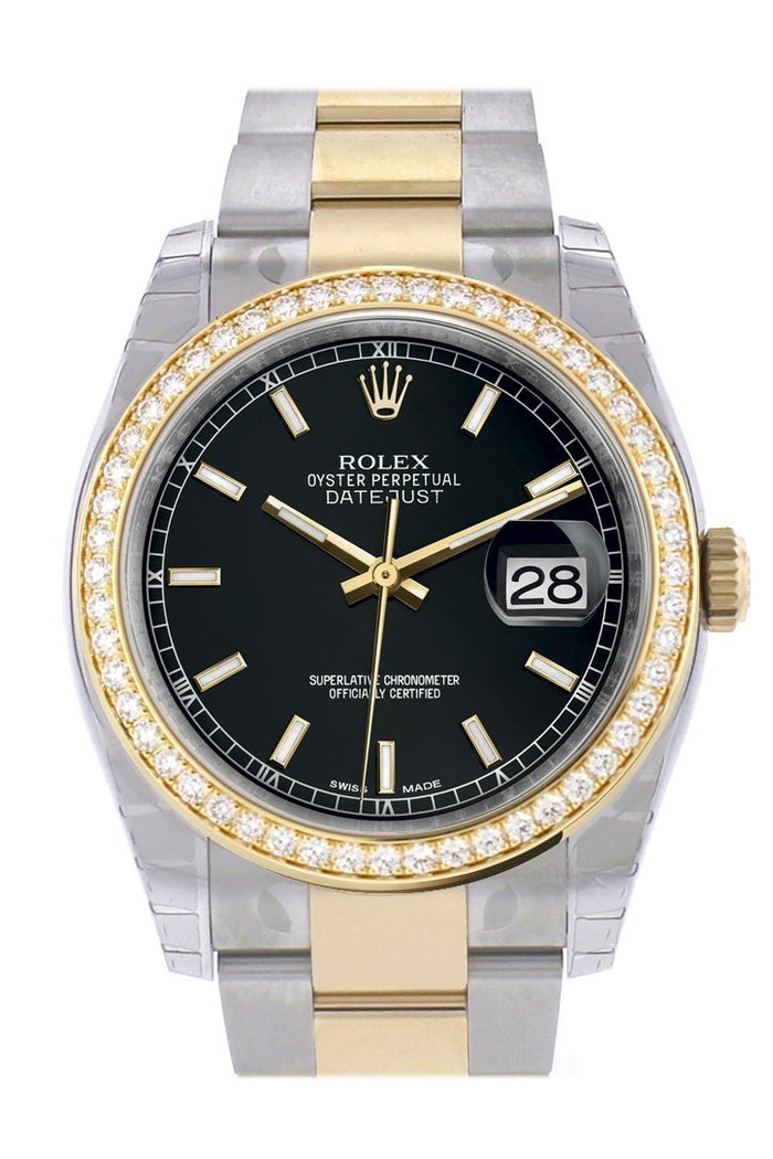 Custom Diamond Bezel Rolex Datejust 36 Black Dial Oyster Yellow Gold Two Tone Watch 116203