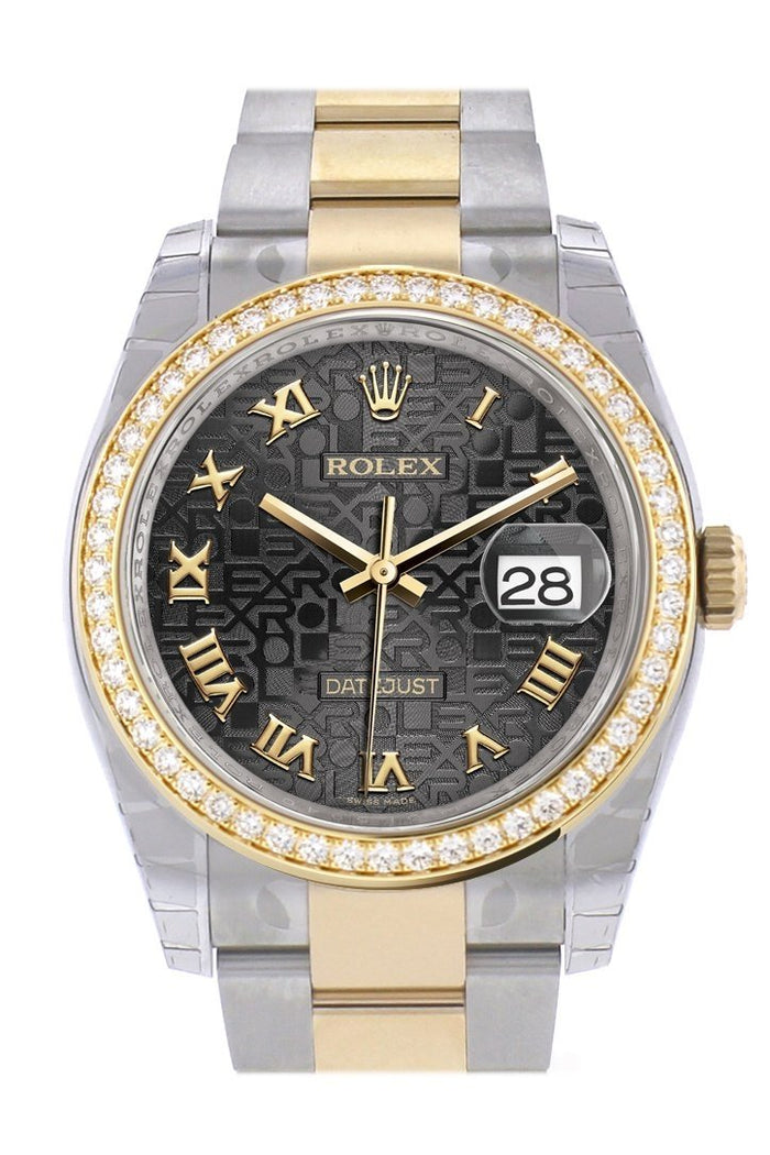 Custom Diamond Bezel Rolex Datejust 36 Black Jubile Roman Dial Oyster Yellow Gold Two Tone Watch 116203