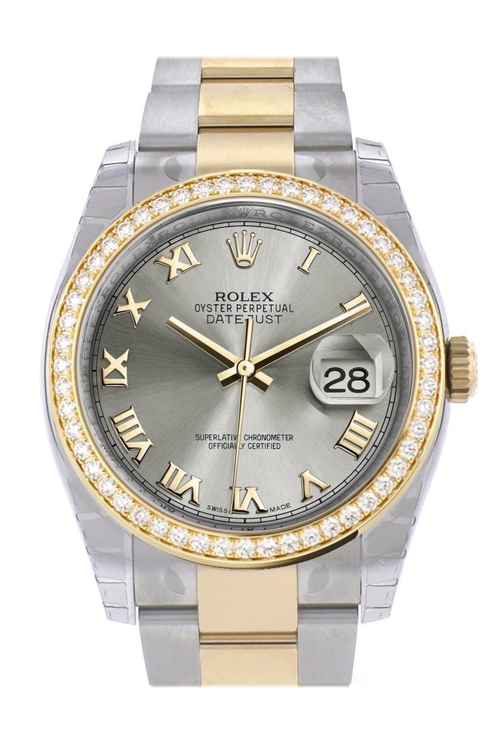 Custom Diamond Bezel Rolex Datejust 36 Steel Roman Dial Oyster Yellow Gold Two Tone Watch 116203