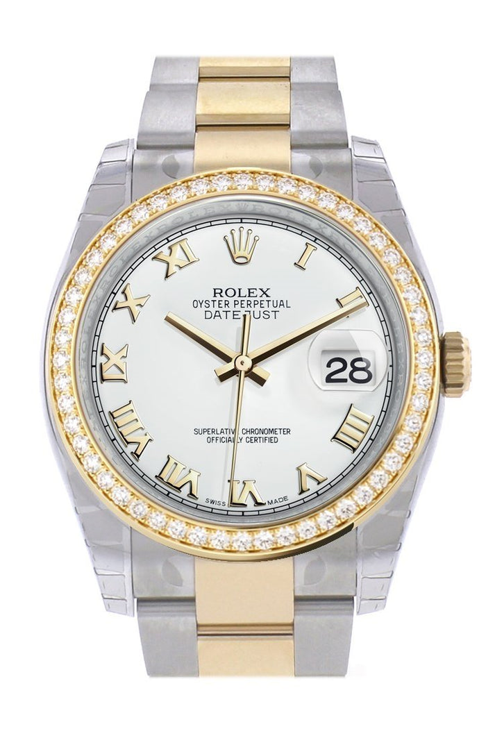 Custom Diamond Bezel Rolex Datejust 36 White Roman Dial Oyster Yellow Gold Two Tone Watch 116203