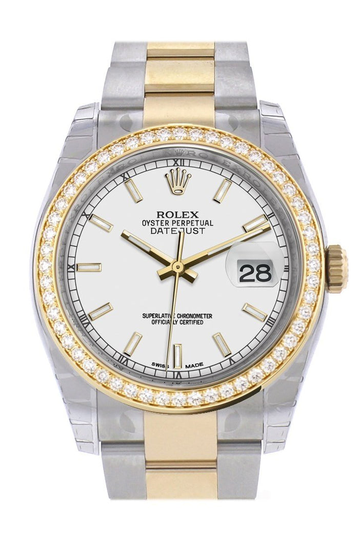 Custom Diamond Bezel Rolex Datejust 36 White Dial Oyster Yellow Gold Two Tone Watch 116203
