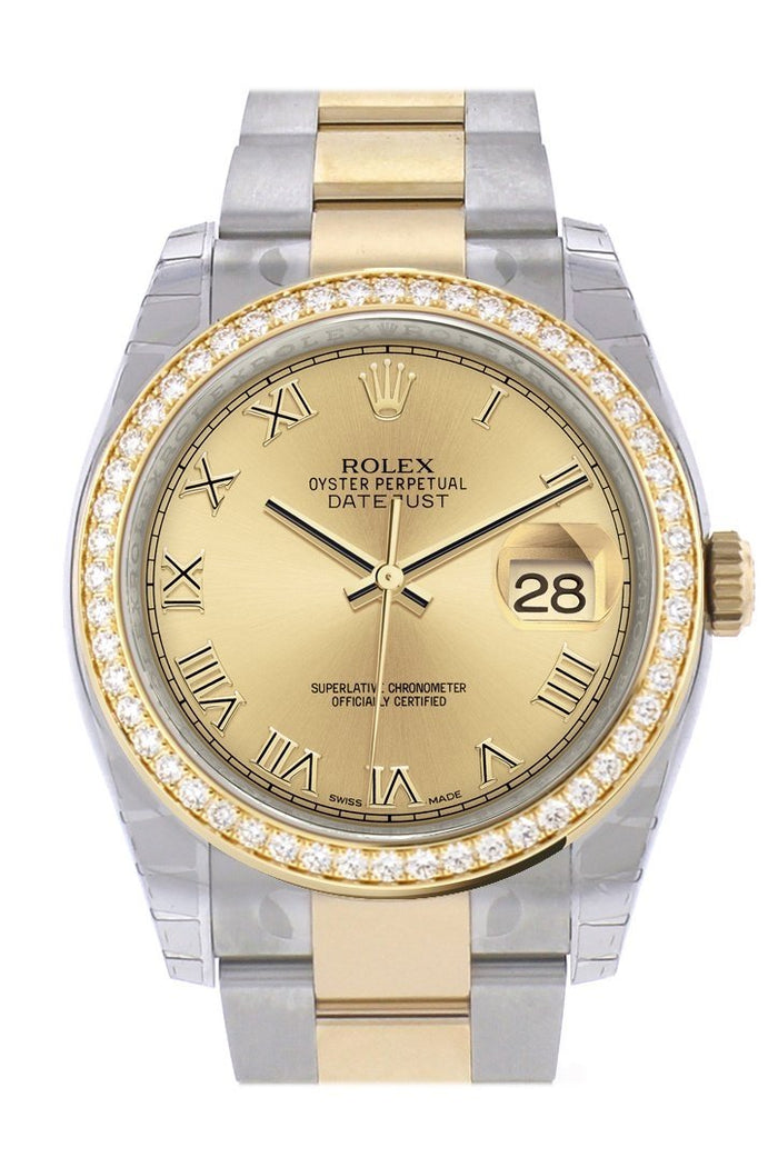 Custom Diamond Bezel Rolex Datejust 36 Champagne Roman Dial Oyster Yellow Gold Two Tone Watch 116203