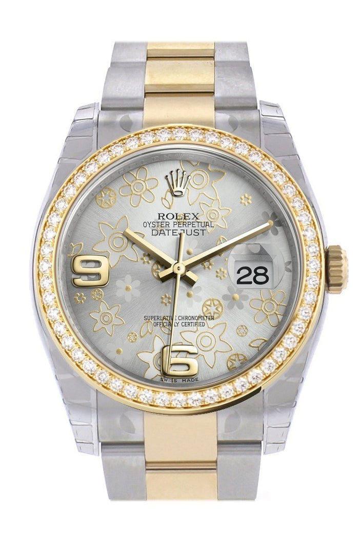 Custom Diamond Bezel Rolex Datejust 36 Silver floral motif Arab Dial Oyster Yellow Gold Two Tone Watch 116203