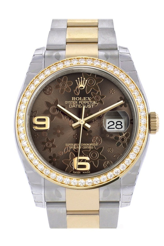 Custom Diamond Bezel Rolex Datejust 36 Bronze floral motif Arab Dial Oyster Yellow Gold Two Tone Watch 116203