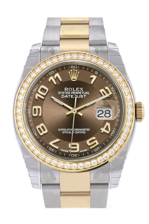 Custom Diamond Bezel Rolex Datejust 36 Bronze Arab Dial Oyster Yellow Gold Two Tone Watch 116203