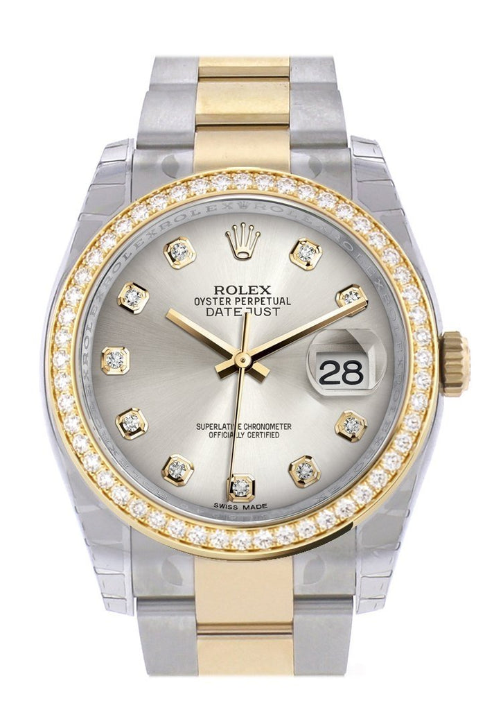 Custom Diamond Bezel Rolex Datejust 36 Silver set with diamonds Dial Oyster Yellow Gold Two Tone Watch 116203