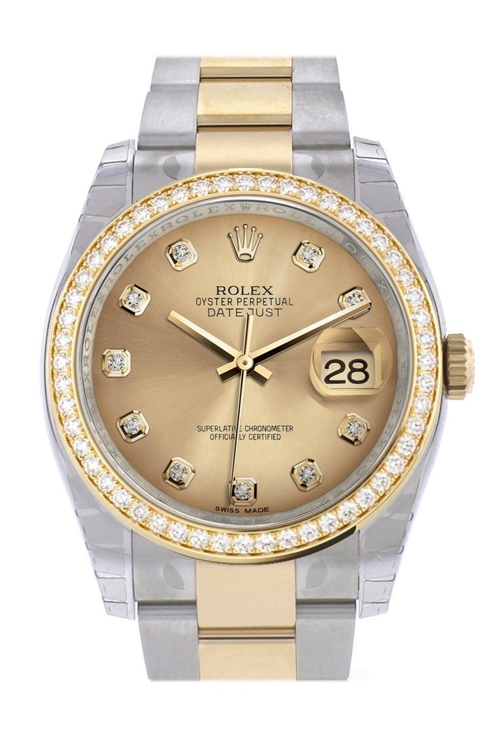 Custom Diamond Bezel Rolex Datejust 36 Champagne set with diamonds Dial Oyster Yellow Gold Two Tone Watch 116203
