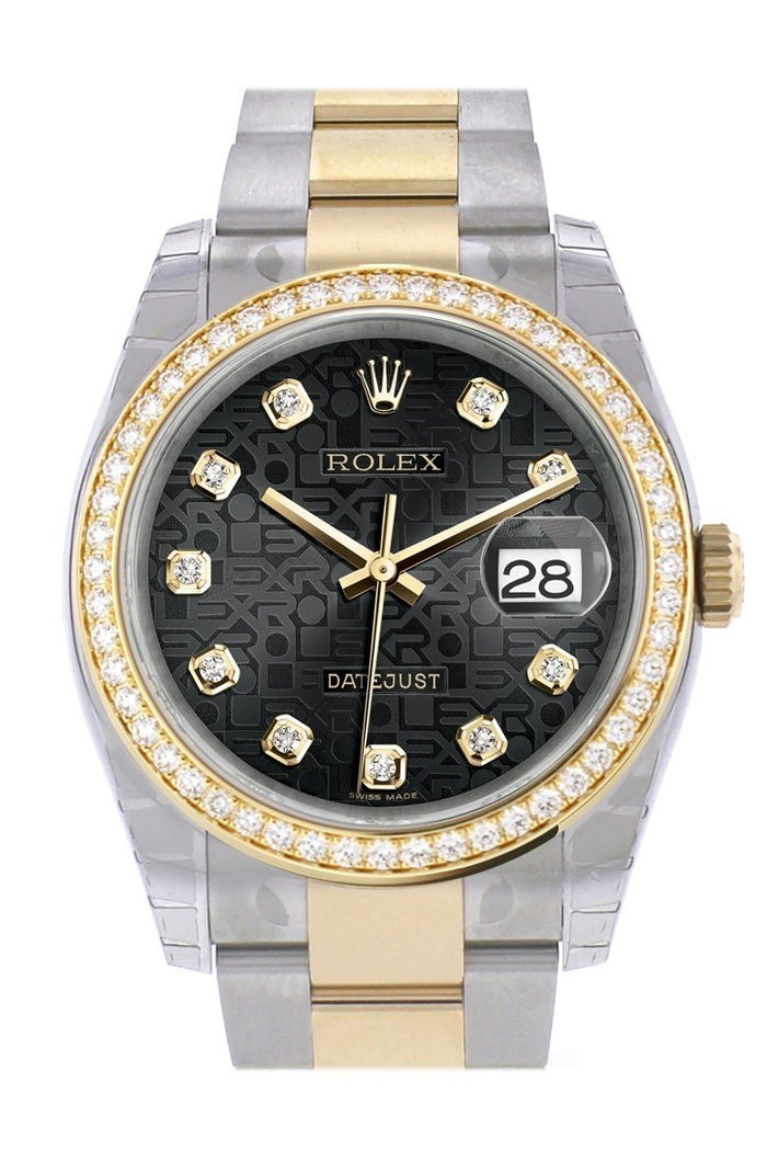 Custom Diamond Bezel Rolex Datejust 36 Black Jubilee set with diamonds Dial Oyster Yellow Gold Two Tone Watch 116203