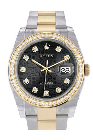 Custom Diamond Bezel Rolex Datejust 36 Black Jubilee Set With Diamonds Dial Oyster Yellow Gold Two