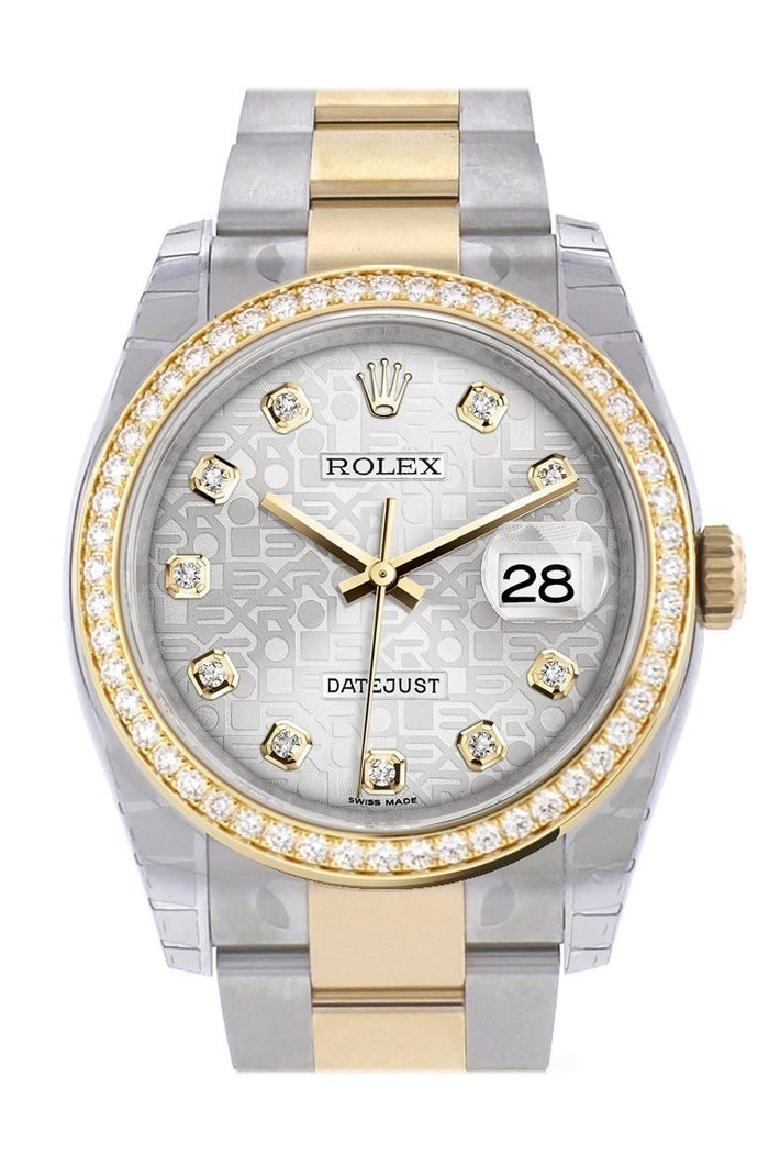 Custom Diamond Bezel Rolex Datejust 36 Silver set with diamonds Dial Oyster Yellow Gold Two Tone Watch 116203 116233