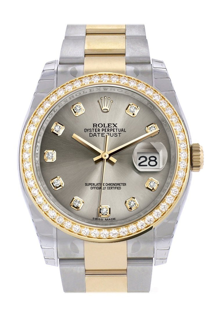 Custom Diamond Bezel Rolex Datejust 36 Steel set with diamonds Dial Oyster Yellow Gold Two Tone Watch 116203
