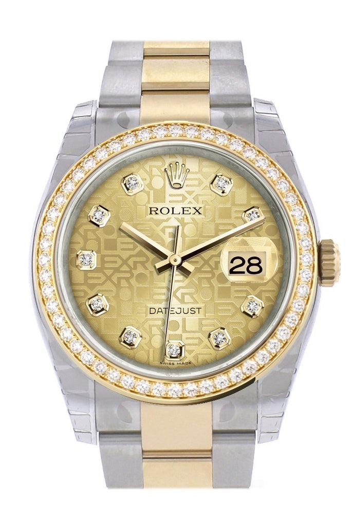 Custom Diamond Bezel Rolex Datejust 36 Champagne Jubilee Dial Oyster Yellow Gold Two Tone Watch