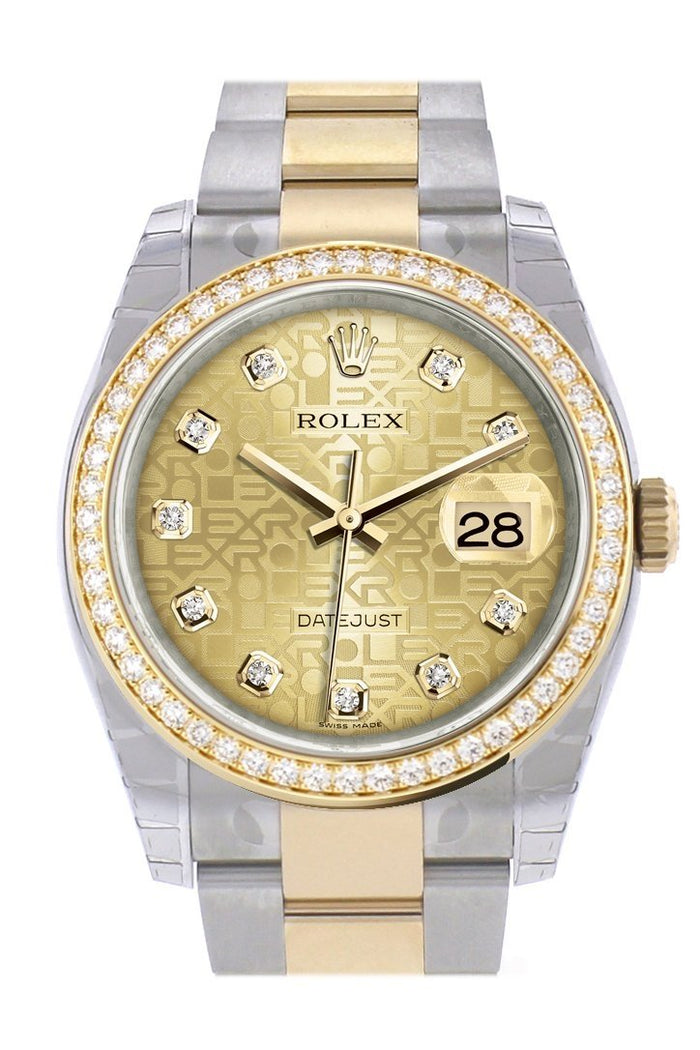 Custom Diamond Bezel Rolex Datejust 36 Champagne Jubilee Diamond Dial Oyster Yellow Gold Two Tone Watch 116203