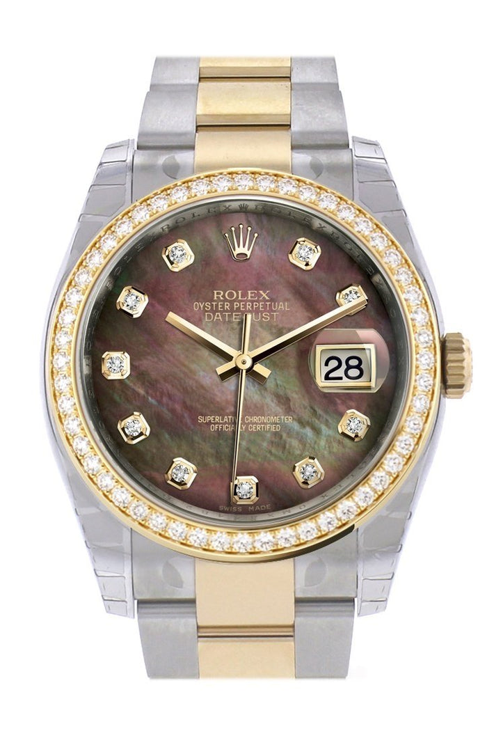 Custom Diamond Bezel Rolex Datejust 36 Black mother-of-pearl set with diamonds Dial Oyster Yellow Gold Two Tone Watch 116203 116233